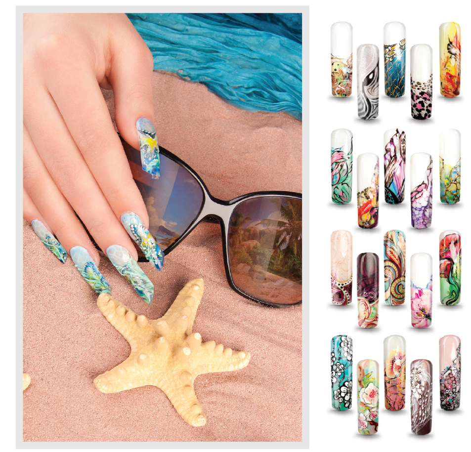 Nail Art, Mix-Media, Mix Media, Mixed Media, Prints, Aquarium-Designs, Flachdesigns